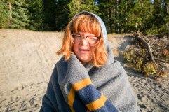 Olivia waking up at camp, Yellowstone, WY