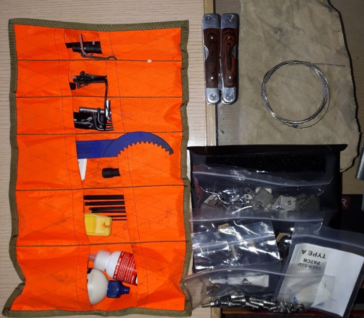 All the items that go into the tool roll and pouch.